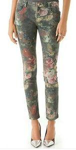 HAUTE HIPPIE JEAN Washed Floral Skinny Jeans 27